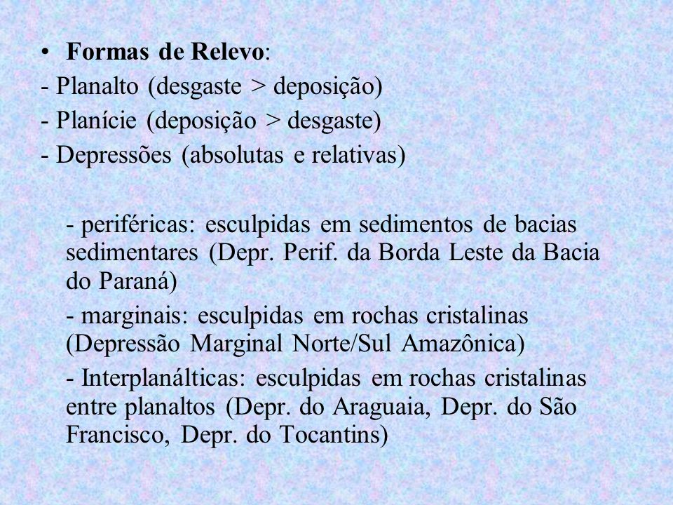 Formas de Relevo: - Planalto (desgaste > deposição) - Planície (deposição > desgaste) - Depressões (absolutas e relativas) - periféricas: esculpidas e