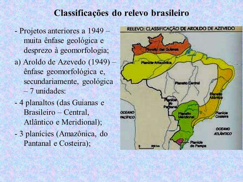 Classificações do relevo brasileiro - Projetos anteriores a 1949 – muita ênfase geológica e desprezo à geomorfologia; a) Aroldo de Azevedo (1949) – ên