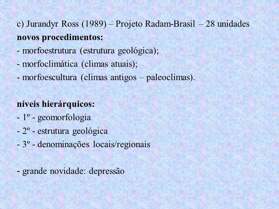 c) Jurandyr Ross (1989) – Projeto Radam-Brasil – 28 unidades novos procedimentos: - morfoestrutura (estrutura geológica); - morfoclimática (climas atu