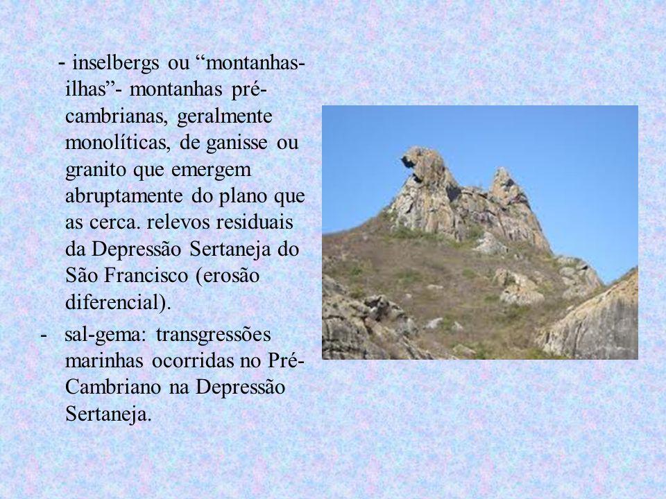 - inselbergs ou montanhas- ilhas- montanhas pré- cambrianas, geralmente monolíticas, de ganisse ou granito que emergem abruptamente do plano que as ce