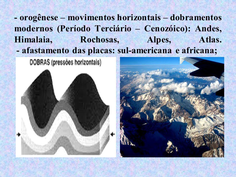 - orogênese – movimentos horizontais – dobramentos modernos (Período Terciário – Cenozóico): Andes, Himalaia, Rochosas, Alpes, Atlas. - afastamento da