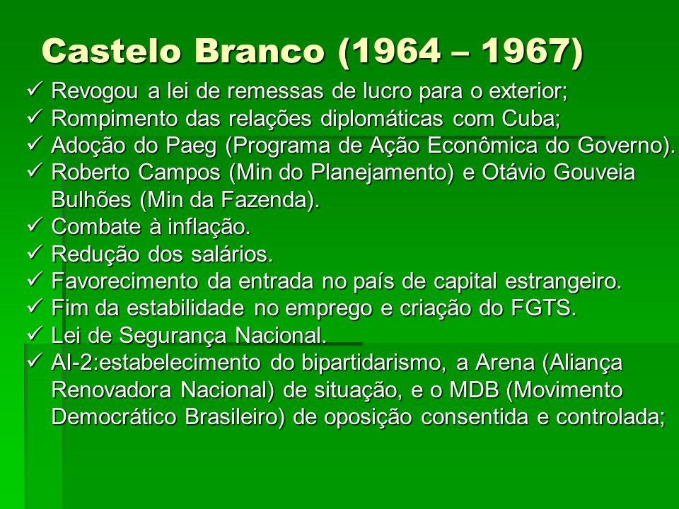 Castelo Branco (1964 – 1967) Revogou a lei de remessas de lucro para o exterior; Revogou a lei de remessas de lucro para o exterior; Rompimento das re