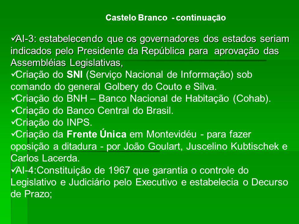 Castelo Branco - continuação AI-3: estabelecendo que os governadores dos estados seriam indicados pelo Presidente da República para aprovação das Asse