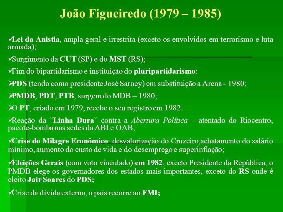 João Figueiredo (1979 – 1985) Lei da Anistia, ampla geral e irrestrita (exceto os envolvidos em terrorismo e luta armada); Surgimento da CUT (SP) e do
