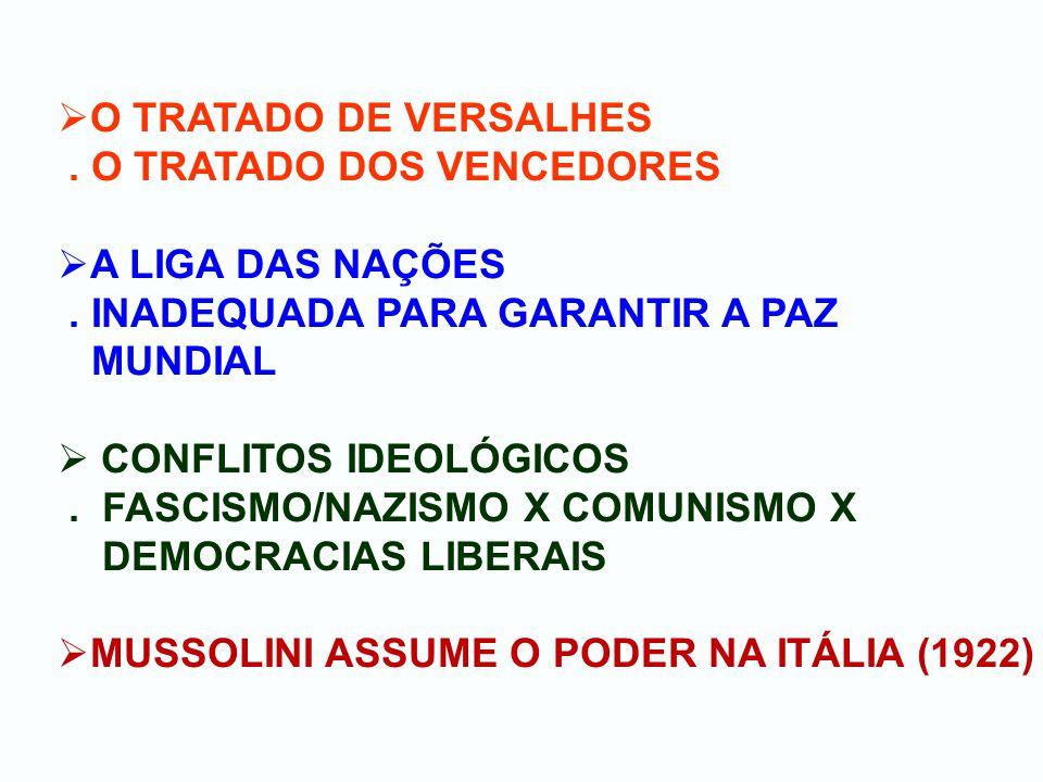 O TRATADO DE VERSALHES. O TRATADO DOS VENCEDORES A LIGA DAS NAÇÕES.