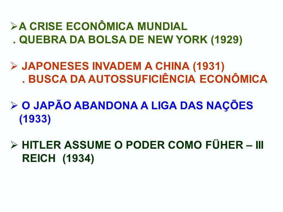 A CRISE ECONÔMICA MUNDIAL. QUEBRA DA BOLSA DE NEW YORK (1929) JAPONESES INVADEM A CHINA (1931). BUSCA DA AUTOSSUFICIÊNCIA ECONÔMICA O JAPÃO ABANDONA A