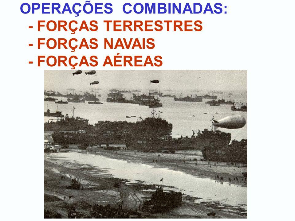 OPERAÇÕES COMBINADAS: - FORÇAS TERRESTRES - FORÇAS NAVAIS - FORÇAS AÉREAS