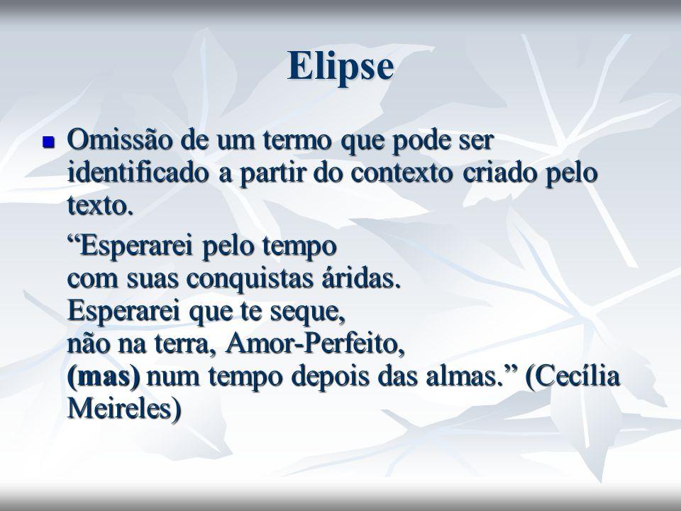 Elipse Omissão de um termo que pode ser identificado a partir do contexto criado pelo texto. Omissão de um termo que pode ser identificado a partir do