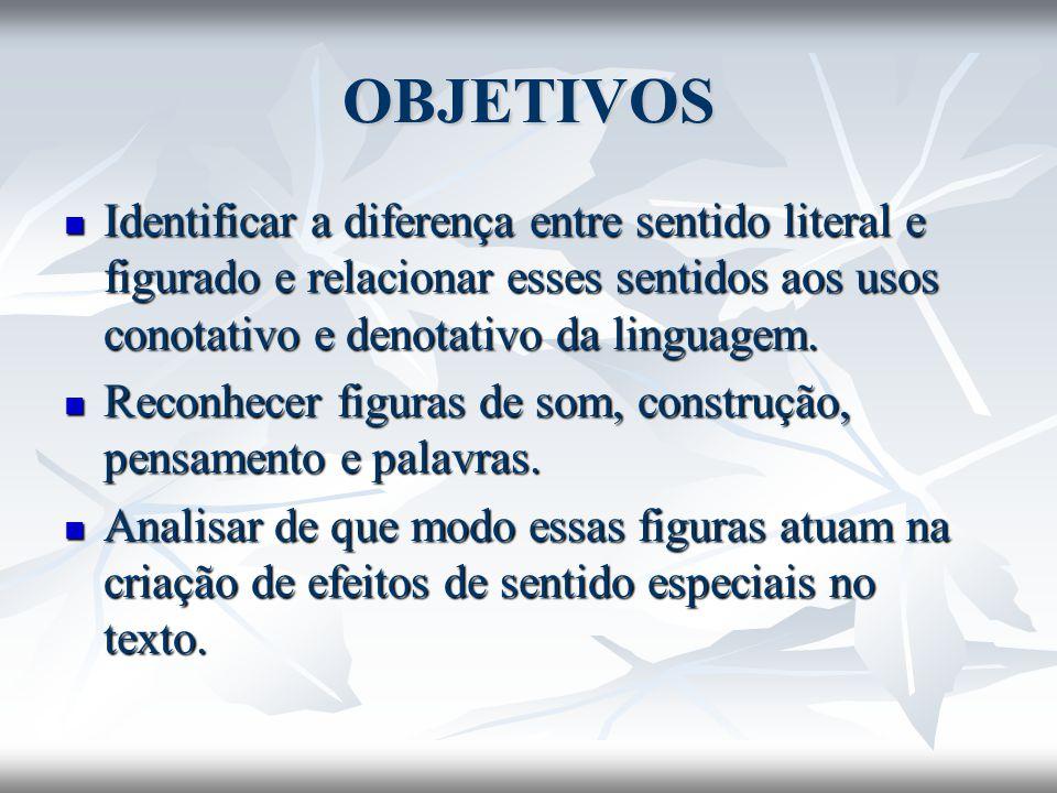 OBJETIVOS Identificar a diferença entre sentido literal e figurado e relacionar esses sentidos aos usos conotativo e denotativo da linguagem. Identifi