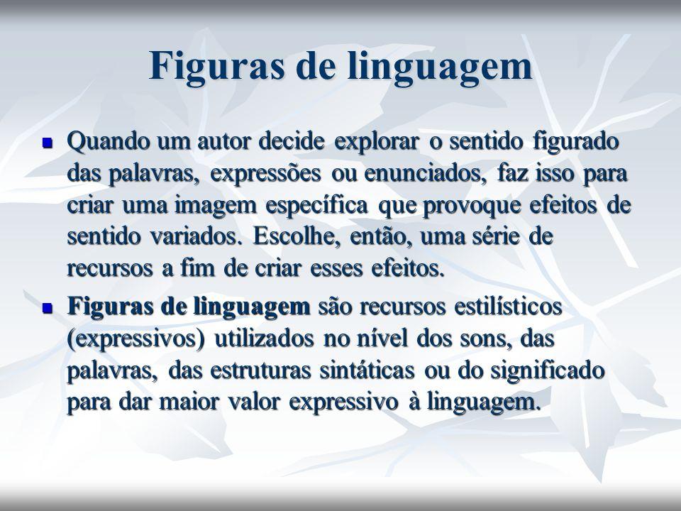 Figuras de linguagem Quando um autor decide explorar o sentido figurado das palavras, expressões ou enunciados, faz isso para criar uma imagem específ