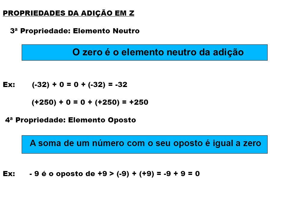 PROPRIEDADES DA ADIÇÃO EM Z 3ª Propriedade: Elemento Neutro Ex: (-32) + 0 = 0 + (-32) = -32 (+250) + 0 = 0 + (+250) = +250 4ª Propriedade: Elemento Op