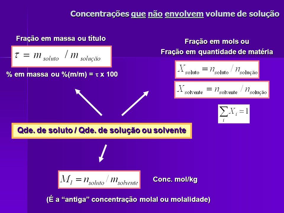 Concentrações das Soluções Concentrações das Soluções Expressam a relação Expressam a relação Soluções Soluções As formas de expressão das concentrações incluem: - as que não utilizam volume de solução - as que não utilizam volume de solução - as que utilizam volume de solução - as que utilizam volume de solução