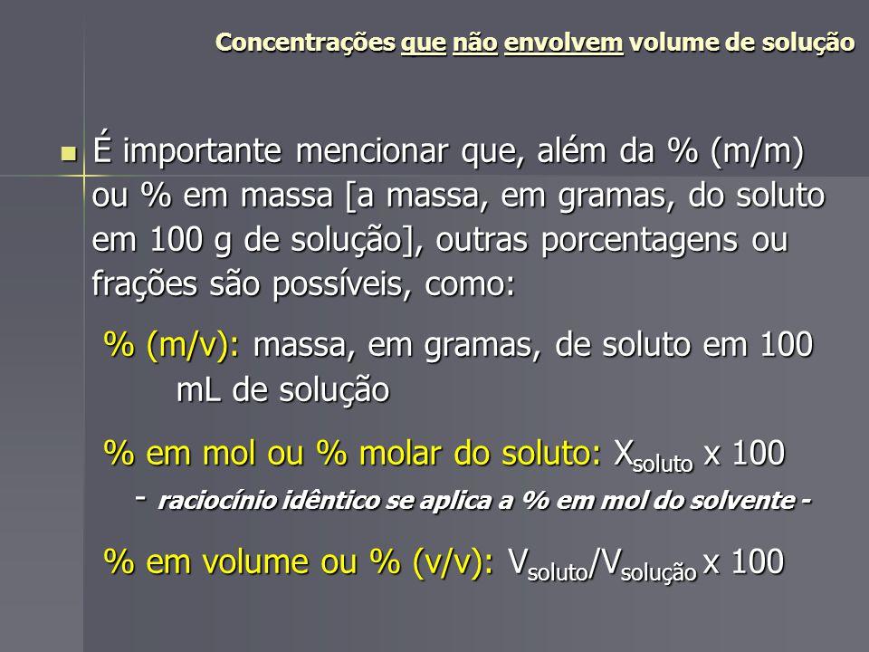 Concentrações que não envolvem volume de solução Concentrações que não envolvem volume de solução Qde.