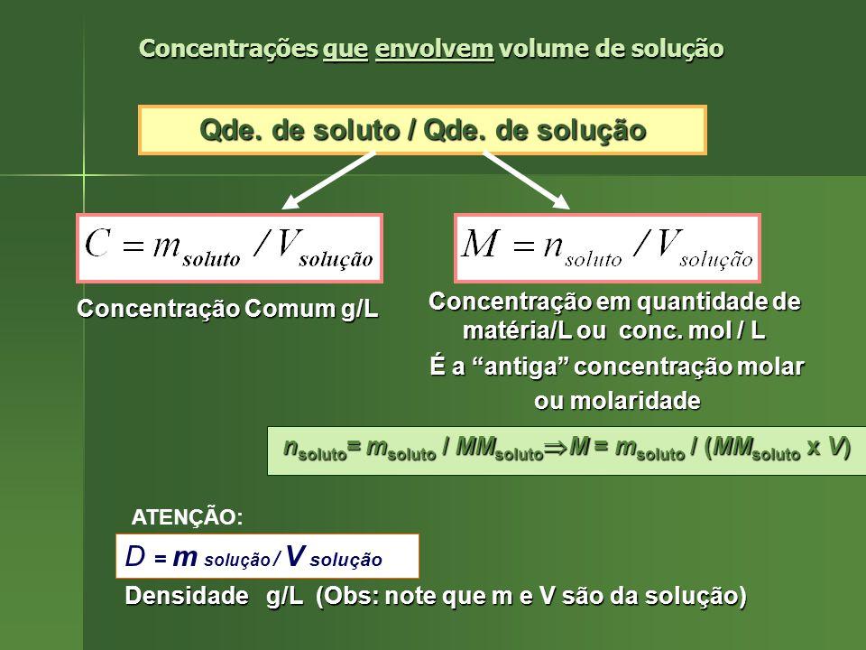 É importante mencionar que, além da % (m/m) É importante mencionar que, além da % (m/m) ou % em massa [a massa, em gramas, do soluto ou % em massa [a massa, em gramas, do soluto em 100 g de solução], outras porcentagens ou em 100 g de solução], outras porcentagens ou frações são possíveis, como: frações são possíveis, como: % (m/v): massa, em gramas, de soluto em 100 % (m/v): massa, em gramas, de soluto em 100 mL de solução mL de solução % em mol ou % molar do soluto: X soluto x 100 % em mol ou % molar do soluto: X soluto x 100 - raciocínio idêntico se aplica a % em mol do solvente - - raciocínio idêntico se aplica a % em mol do solvente - % em volume ou % (v/v): V soluto /V solução x 100 % em volume ou % (v/v): V soluto /V solução x 100 Concentrações que não envolvem volume de solução Concentrações que não envolvem volume de solução