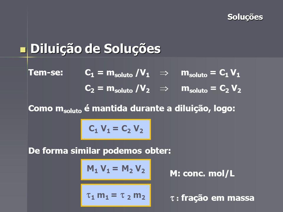 Soluções Soluções Diluição de Soluções Diluição de Soluções V 1 – volume da solução inicial V 2 – volume da solução final m 1 – massa da solução inicial m 2 – massa da solução final V 2 = V 1 + V solv.