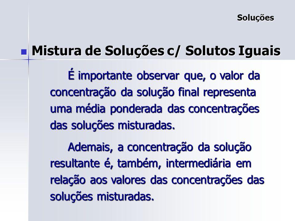Soluções Soluções Mistura de Soluções c/ Solutos Iguais Mistura de Soluções c/ Solutos Iguais 1: solução inicial 1: solução inicial 2: sol.