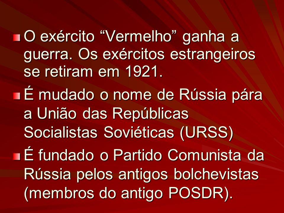 O exército Vermelho ganha a guerra. Os exércitos estrangeiros se retiram em 1921. É mudado o nome de Rússia pára a União das Repúblicas Socialistas So