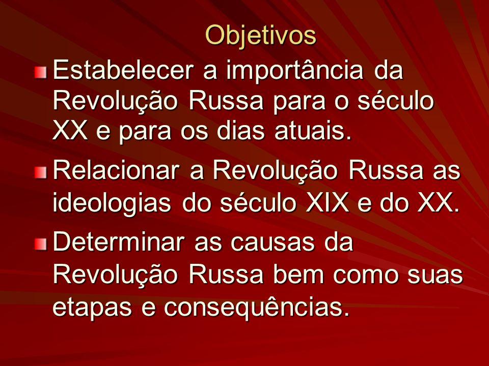 Objetivos Estabelecer a importância da Revolução Russa para o século XX e para os dias atuais. Relacionar a Revolução Russa as ideologias do século XI