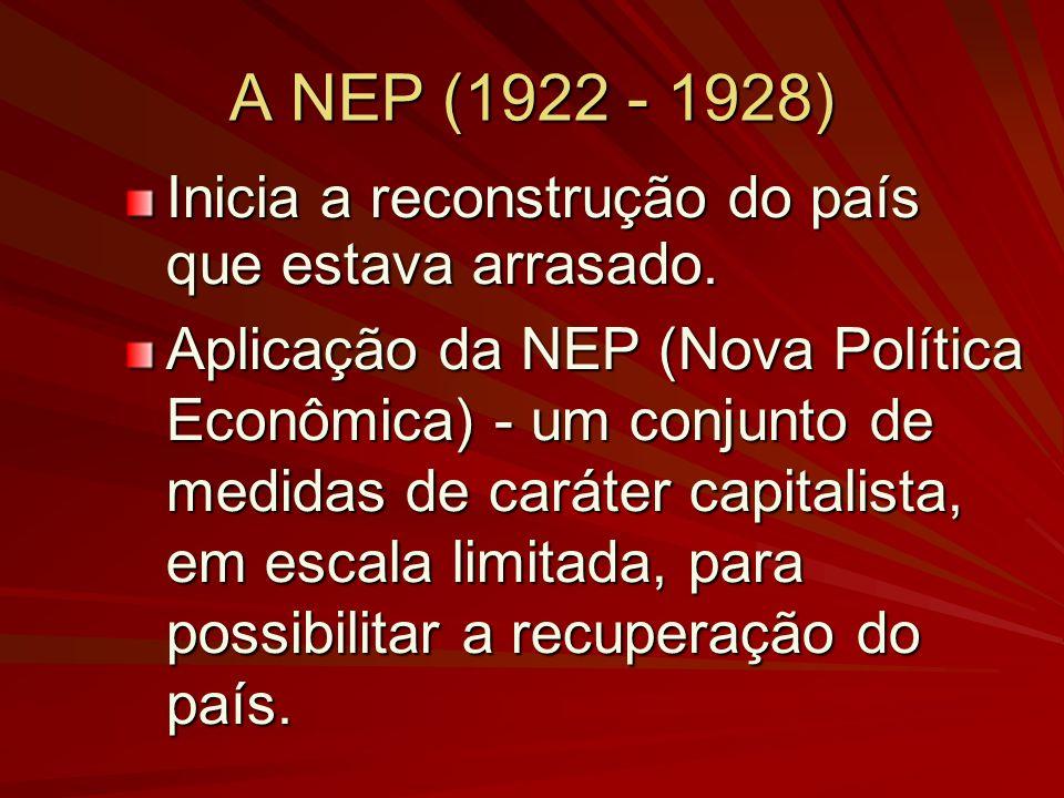 A NEP (1922 - 1928) Inicia a reconstrução do país que estava arrasado.