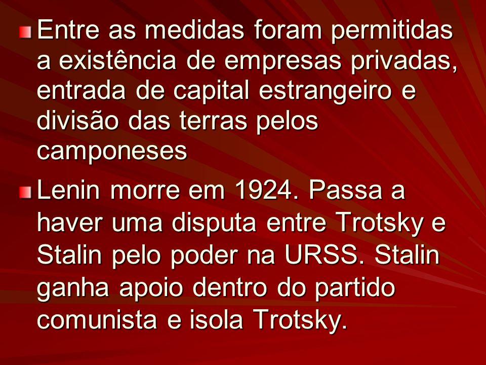 Entre as medidas foram permitidas a existência de empresas privadas, entrada de capital estrangeiro e divisão das terras pelos camponeses Lenin morre