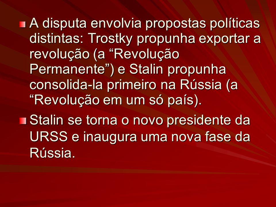 A disputa envolvia propostas políticas distintas: Trostky propunha exportar a revolução (a Revolução Permanente) e Stalin propunha consolida-la primeiro na Rússia (a Revolução em um só país).