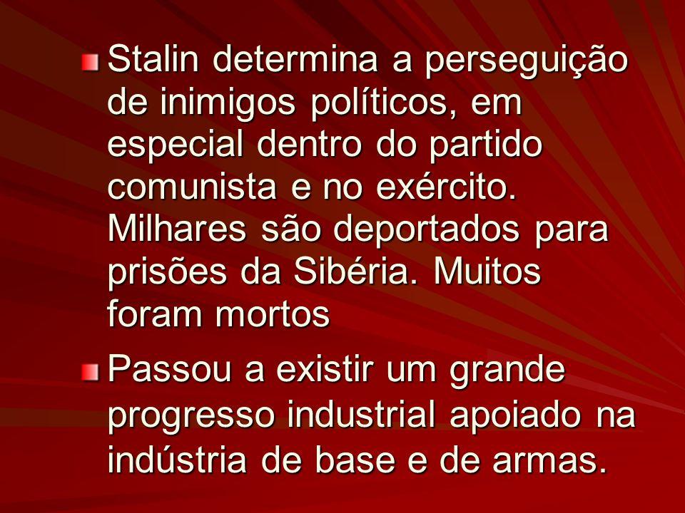 Stalin determina a perseguição de inimigos políticos, em especial dentro do partido comunista e no exército.