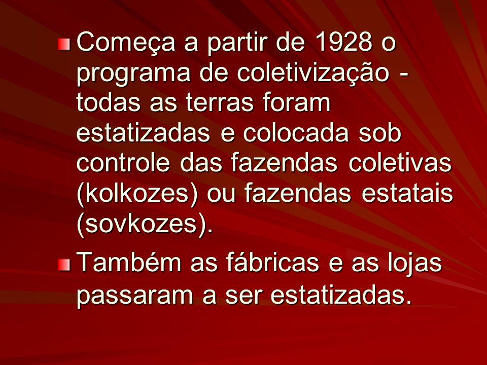 Começa a partir de 1928 o programa de coletivização - todas as terras foram estatizadas e colocada sob controle das fazendas coletivas (kolkozes) ou f