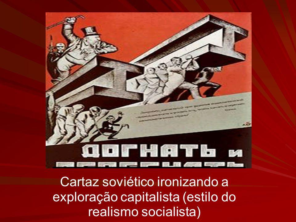 Cartaz soviético ironizando a exploração capitalista (estilo do realismo socialista)