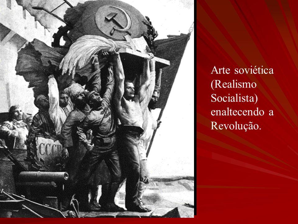 Arte soviética (Realismo Socialista) enaltecendo a Revolução.