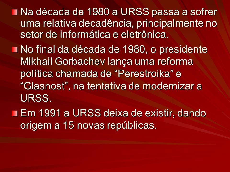 Na década de 1980 a URSS passa a sofrer uma relativa decadência, principalmente no setor de informática e eletrônica. No final da década de 1980, o pr