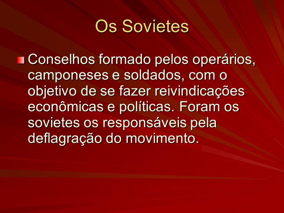 Os Sovietes Conselhos formado pelos operários, camponeses e soldados, com o objetivo de se fazer reivindicações econômicas e políticas. Foram os sovie