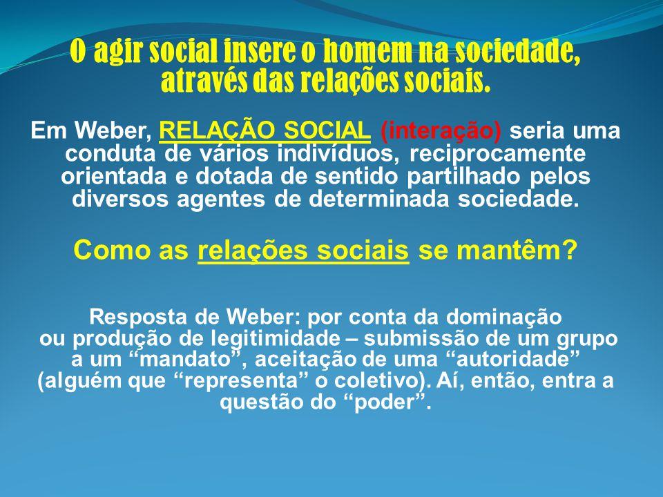 O agir social insere o homem na sociedade, através das relações sociais. Em Weber, RELAÇÃO SOCIAL (interação) seria uma conduta de vários indivíduos,