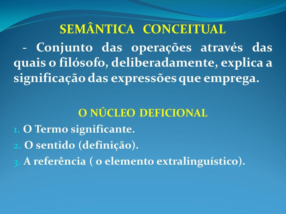 SEMÂNTICA CONCEITUAL - Conjunto das operações através das quais o filósofo, deliberadamente, explica a significação das expressões que emprega. O NÚCL