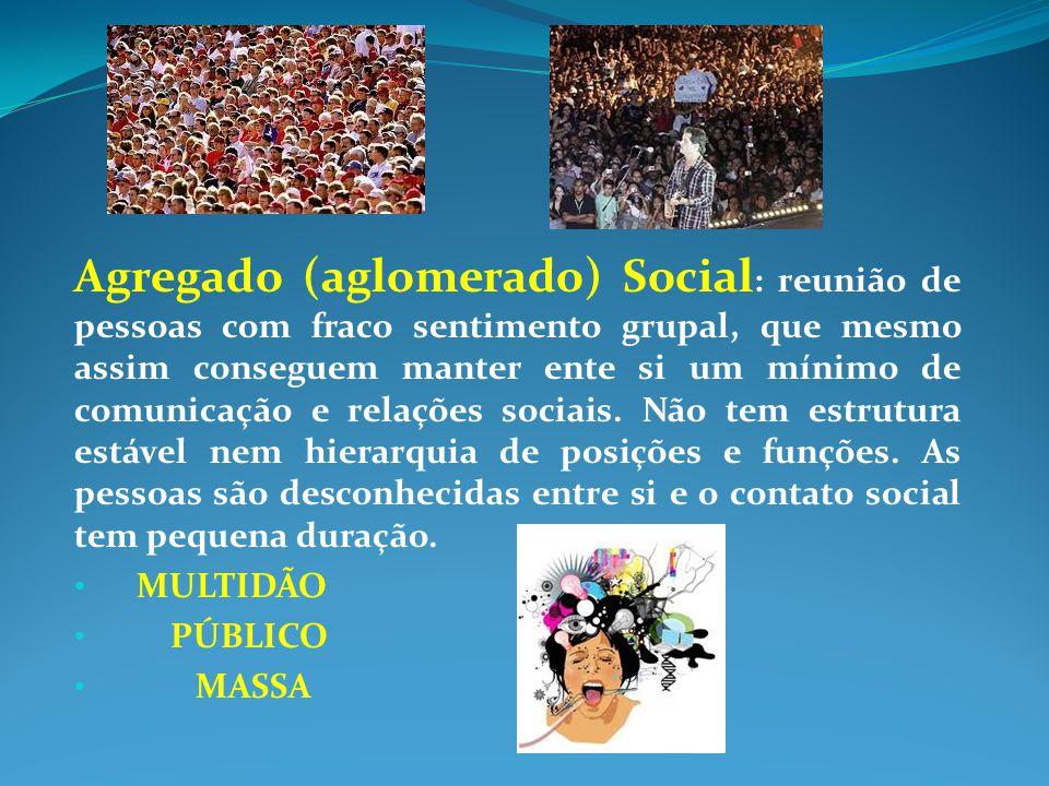 Agregado (aglomerado) Social : reunião de pessoas com fraco sentimento grupal, que mesmo assim conseguem manter ente si um mínimo de comunicação e rel
