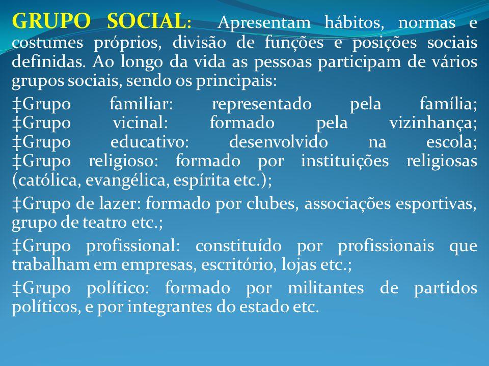 GRUPO SOCIAL : Apresentam hábitos, normas e costumes próprios, divisão de funções e posições sociais definidas. Ao longo da vida as pessoas participam