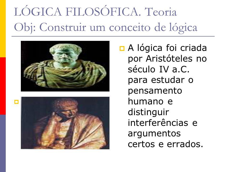 LÓGICA FILOSÓFICA. Teoria Obj: Construir um conceito de lógica A lógica foi criada por Aristóteles no século IV a.C. para estudar o pensamento humano