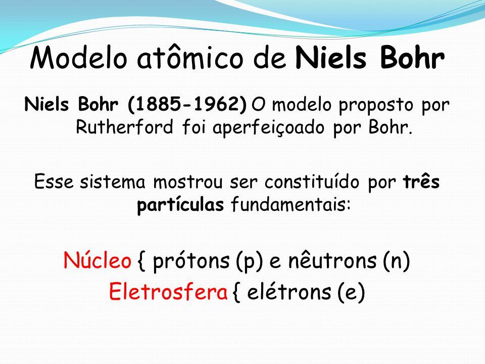 Modelo atômico de Niels Bohr Niels Bohr (1885-1962) O modelo proposto por Rutherford foi aperfeiçoado por Bohr. Esse sistema mostrou ser constituído p