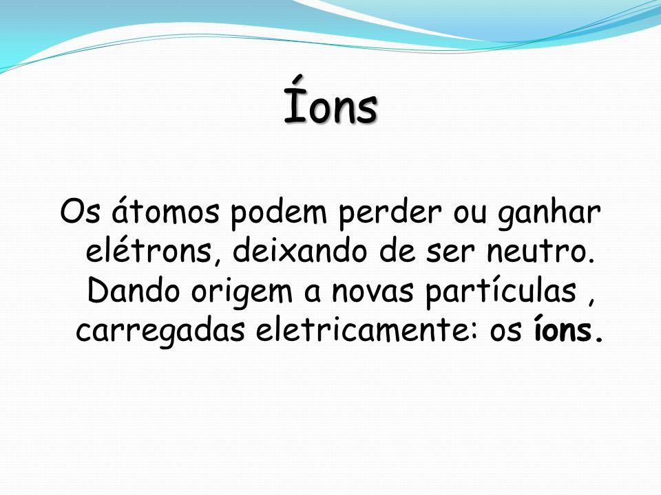 Íons Os átomos podem perder ou ganhar elétrons, deixando de ser neutro. Dando origem a novas partículas, carregadas eletricamente: os íons.