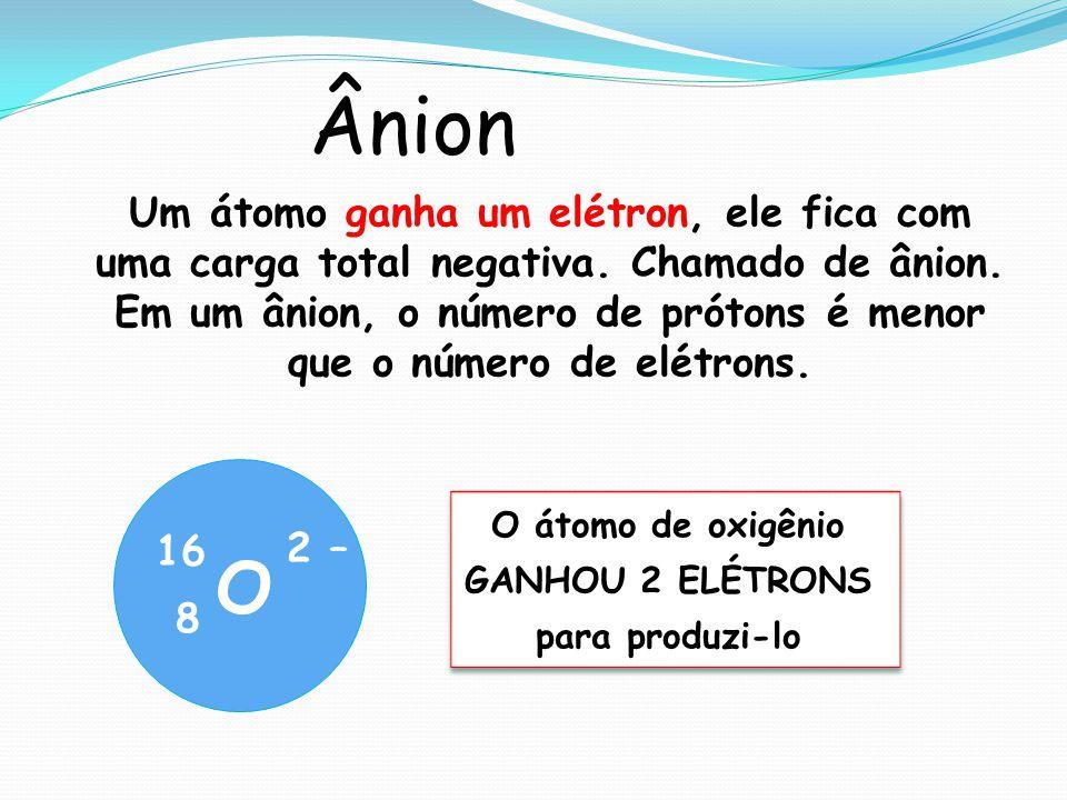 O átomo de oxigênio GANHOU 2 ELÉTRONS para produzi-lo O átomo de oxigênio GANHOU 2 ELÉTRONS para produzi-lo O 16 8 2 – Ânion Um átomo ganha um elétron