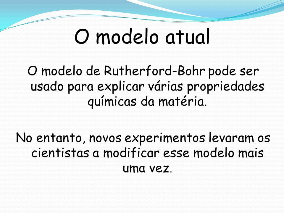 O modelo atual O modelo de Rutherford-Bohr pode ser usado para explicar várias propriedades químicas da matéria. No entanto, novos experimentos levara