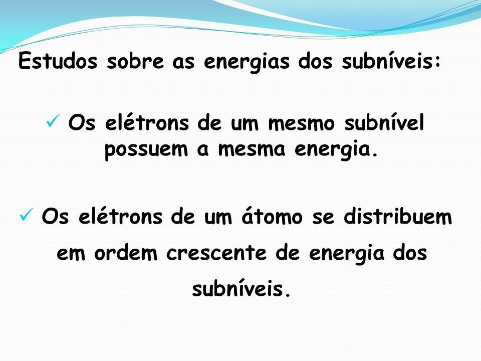 Estudos sobre as energias dos subníveis: Os elétrons de um mesmo subnível possuem a mesma energia. Os elétrons de um átomo se distribuem em ordem cres