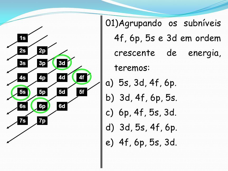1s 2s2p 3s3p3d 4s4p 4d4f 5s5p5d5f 6s6p6d 7p7s 01)Agrupando os subníveis 4f, 6p, 5s e 3d em ordem crescente de energia, teremos: a) 5s, 3d, 4f, 6p. b)