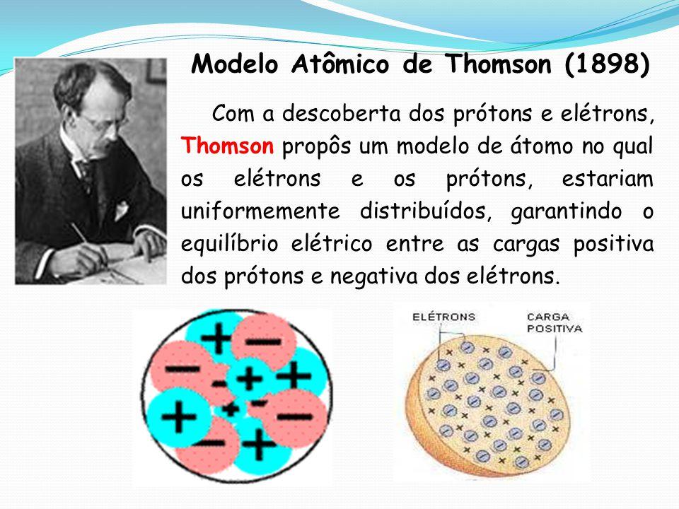 Modelo Atômico de Thomson (1898) Com a descoberta dos prótons e elétrons, Thomson propôs um modelo de átomo no qual os elétrons e os prótons, estariam