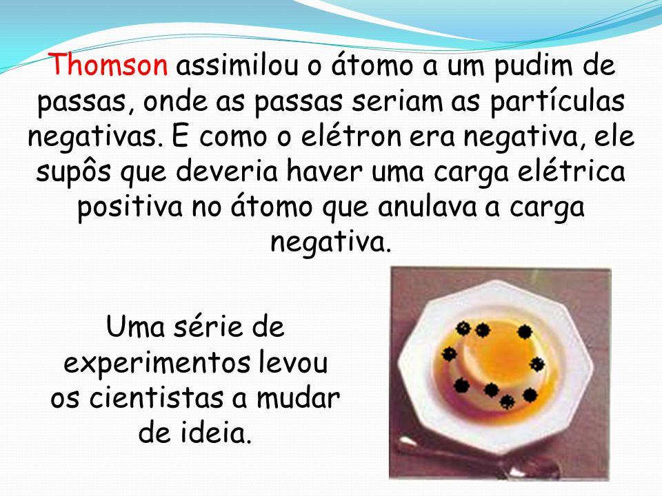 Thomson assimilou o átomo a um pudim de passas, onde as passas seriam as partículas negativas. E como o elétron era negativa, ele supôs que deveria ha