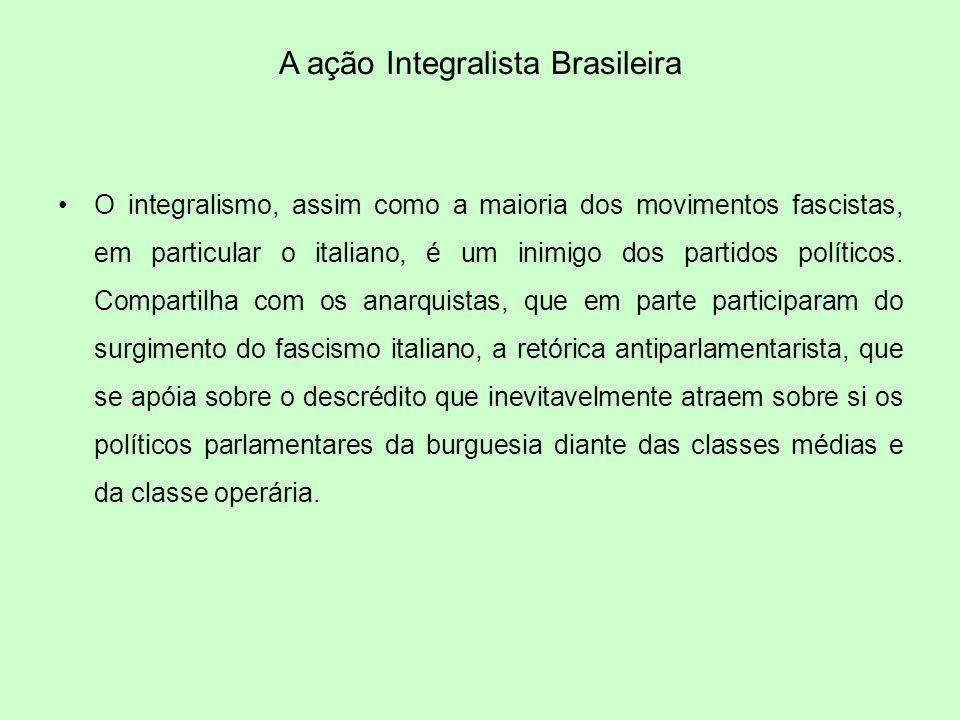 A ação Integralista Brasileira O integralismo, assim como a maioria dos movimentos fascistas, em particular o italiano, é um inimigo dos partidos polí