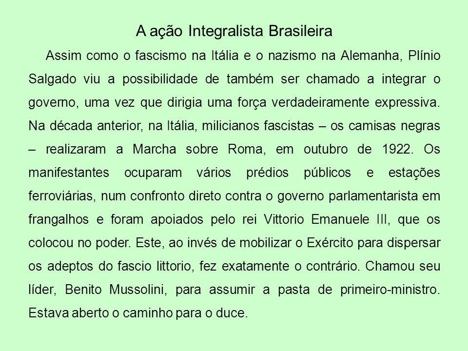 A ação Integralista Brasileira Assim como o fascismo na Itália e o nazismo na Alemanha, Plínio Salgado viu a possibilidade de também ser chamado a int