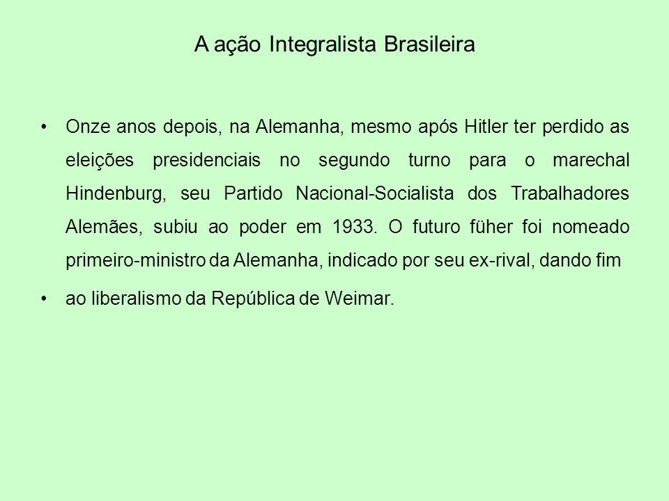 A ação Integralista Brasileira Onze anos depois, na Alemanha, mesmo após Hitler ter perdido as eleições presidenciais no segundo turno para o marechal