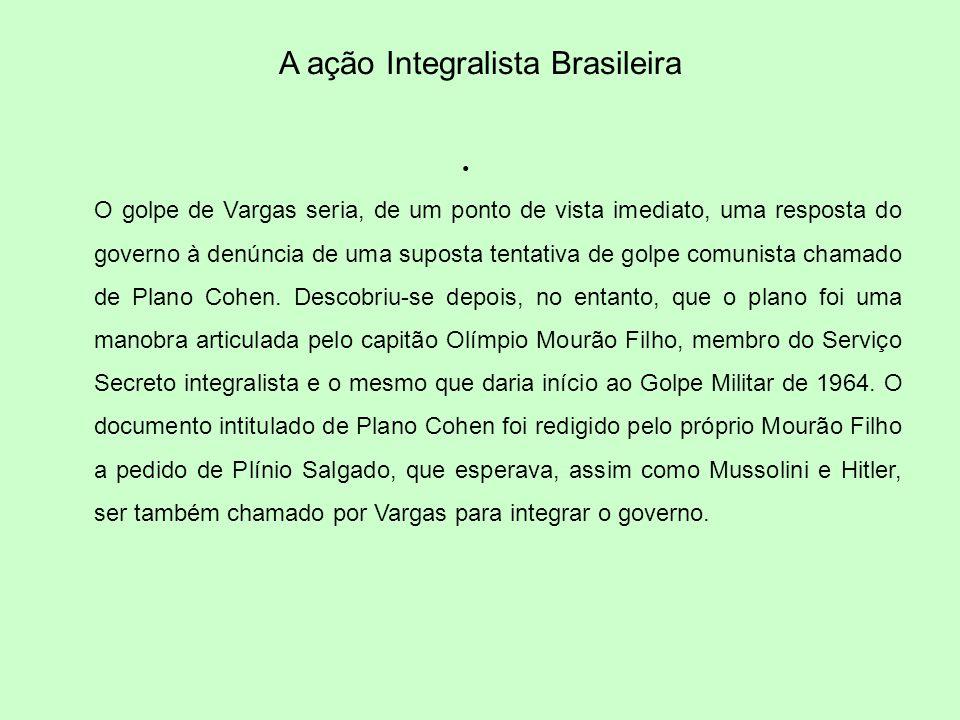 A ação Integralista Brasileira O golpe de Vargas seria, de um ponto de vista imediato, uma resposta do governo à denúncia de uma suposta tentativa de