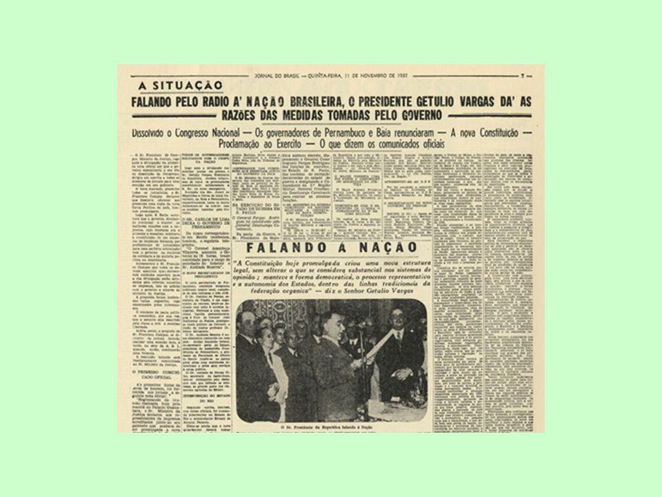 O Estado Novo (1937-1945) Arbítrio pelo Estado do conflito entre capital X trabalho; Para o operário urbano: direitos sociais e trabalhistas; para os empresários: Investimentos estatais e indústria de base, visando a promoção do desenvolvimento industrial.