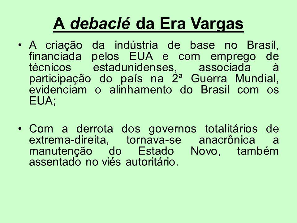 A debaclé da Era Vargas A criação da indústria de base no Brasil, financiada pelos EUA e com emprego de técnicos estadunidenses, associada à participa